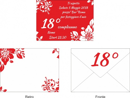 10 Invitations + Envelope Birthday Party Invitation Party 18 years  copia