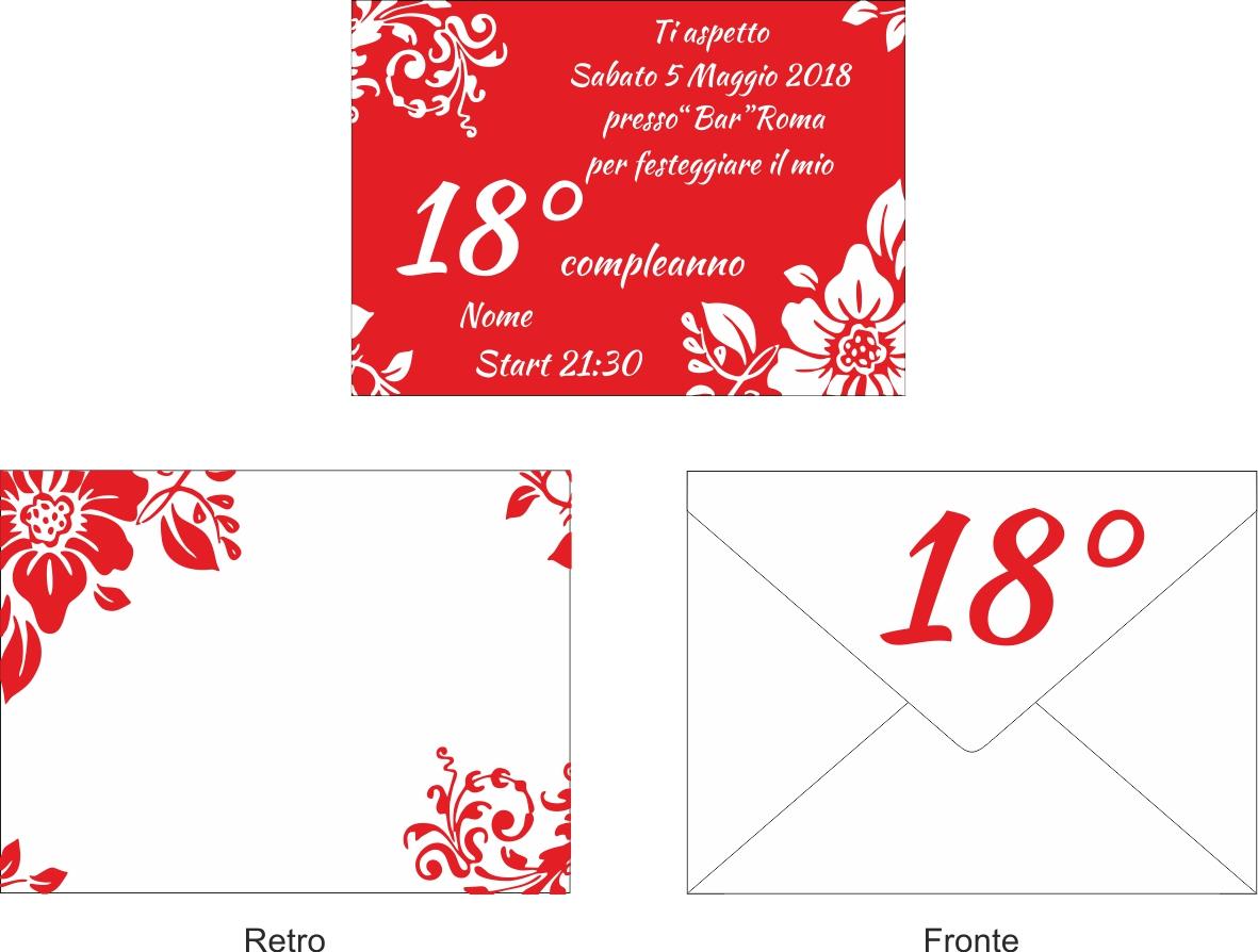 Estremamente 10 Inviti + busta invito festa compleanno Party 18 anni Rosso bianco LX38