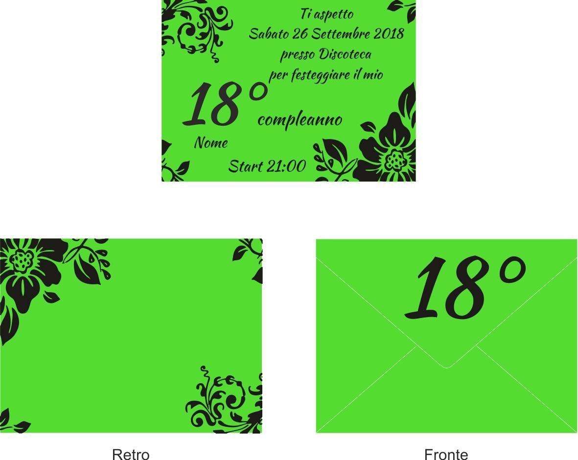 Estremamente 10 Inviti + busta invito festa compleanno Party 18 anni Verde nero PJ43