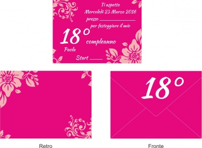 10 Invitations + Envelope Birthday Party Invitation Party 18 years fuchsia and pink