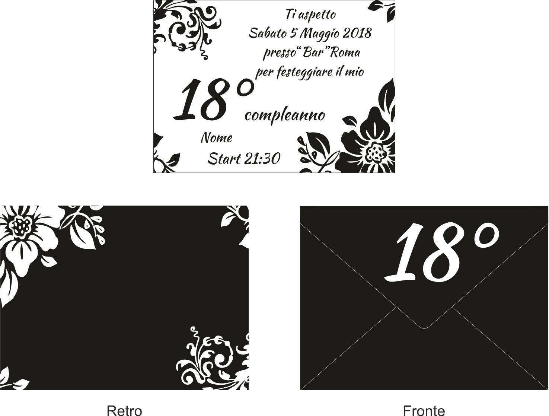 Ben noto 10 Inviti + busta invito festa compleanno Party 18 anni nero bianco WT14