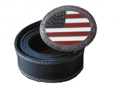 Leather belt with buckle Western with U.S.A. Flag
