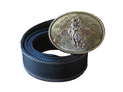 Leather belt with buckle Western Rodeo 2