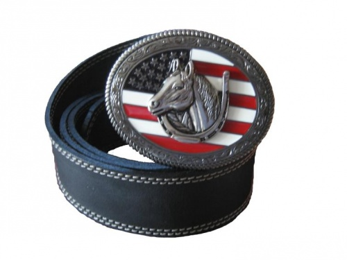 Leather belt with buckle, Western U.S. Flag + horse head and bracket