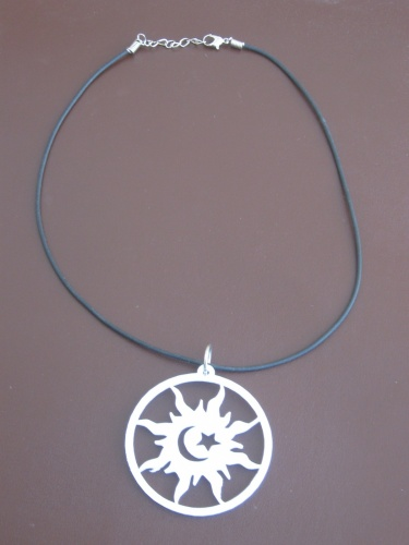 Rubber necklace pendant necklace sun moon symbol girogola