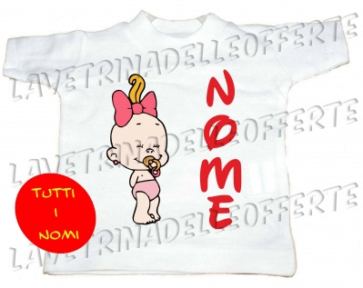 Mini t-shirt bimba a bordo personalizzabile nome
