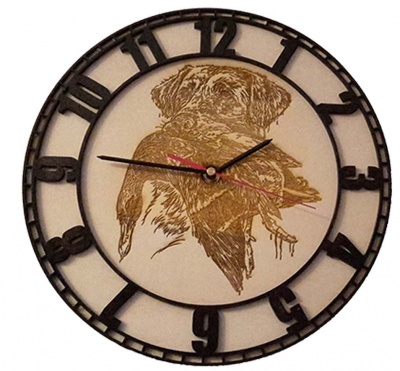 8mm wooden wall clock with handmade Roman numerals copia